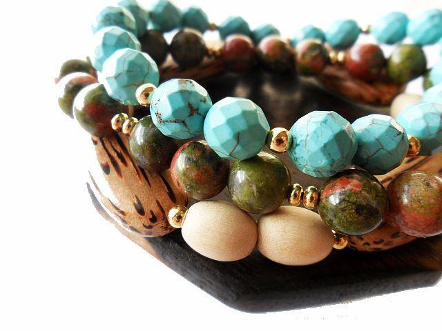 Unakite stone, palm wood, white wood and Turquoise stones.