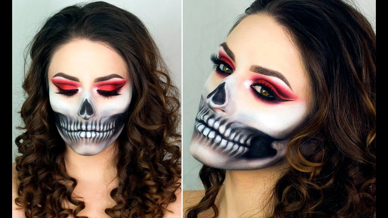 Halloween Makeup Looks For Guys.Half Skull Make Up Tutorial Easy Halloween Costume Youtube