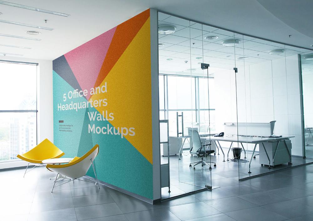 5 Free Office Interior Mockup Psd Free Mockup Office Wall Design Office Wall Graphics Office Interior Design
