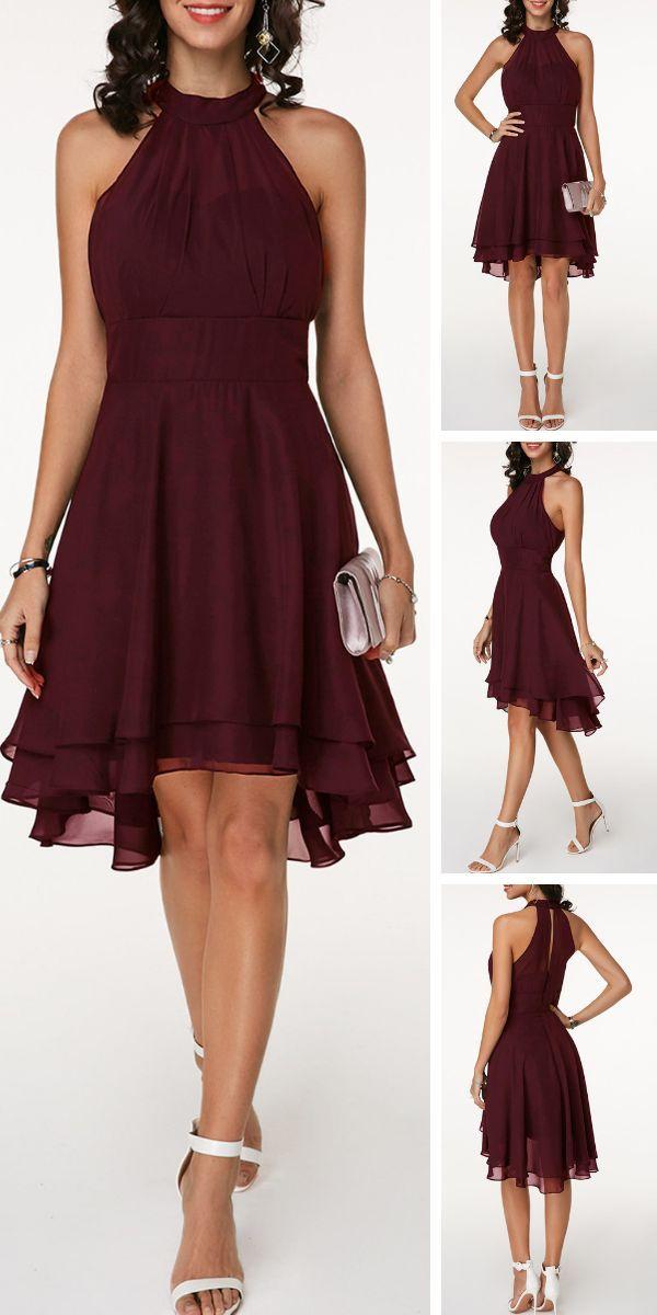 Asymmetrischer Saum Ärmelloses Chiffon-Kleid mit hoher Taille #fashiondresses