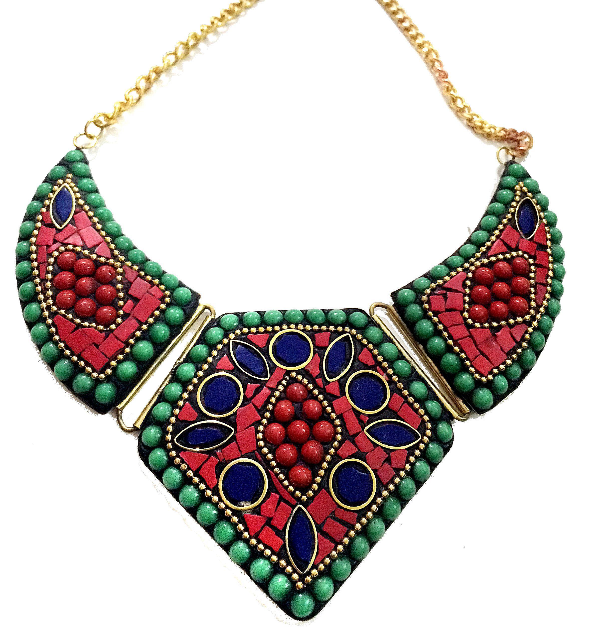 lapis coral bib necklace blue gold collar necklace