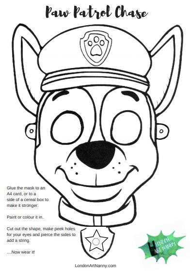 Paw Patrol Chase FREE face mask printable PDF Chase paw