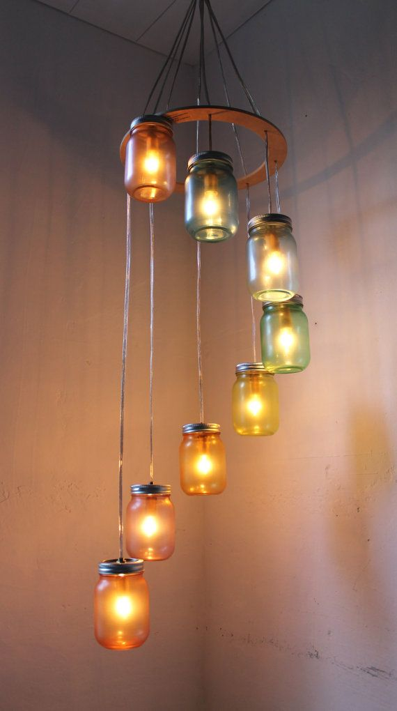 Rainbow Bright Mason Jar Chandelier Mason Jar Lighting Spiral Swag Lamp Handcrafted Upcycled Bootsngus Hanging Pendant Light Fixture Mason Jar Chandelier Jar Chandelier Mason Jar Lighting