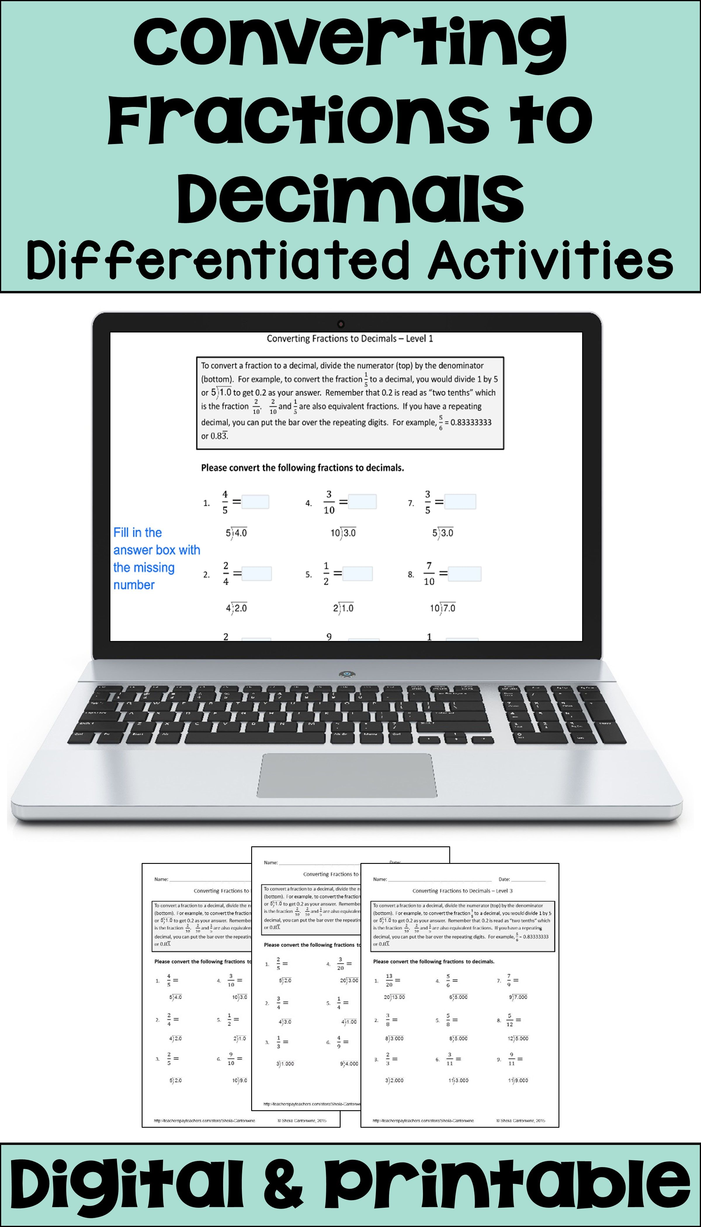 Converting Fractions to Decimals Differentiated Activities with Digital and  Printable Opti… in 2020   Converting fractions [ 4200 x 2400 Pixel ]