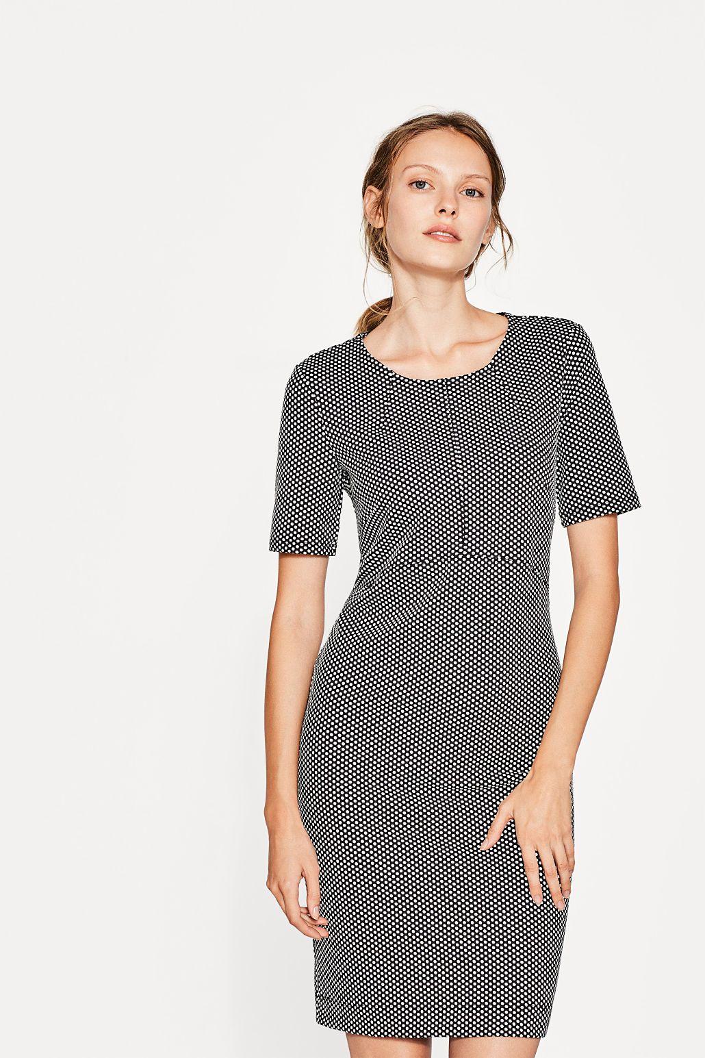 20decdeeb44 Esprit - Smal kjole med prikker, jersey/stretch | AW 18/19 QR ...