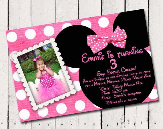 Pink Minnie Mouse Custom Photo Birthday