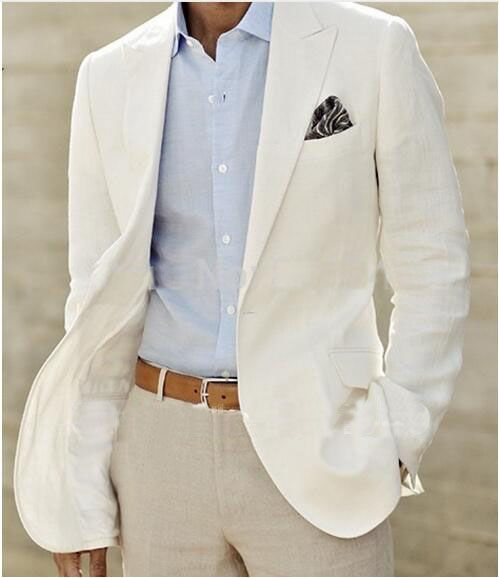 Ivory Linen Suit Custom Made Men White Linen Blazer And Pants Mens ...