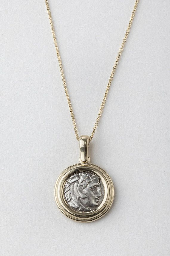 1fed7ef50 Alexander III The Great Coin Pendant, Ancient Greek Coin Pendant, Heracles  Wearing Lion Skin, Authen