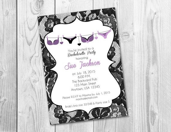 Lingerie Lace Bridal Shower/ Bachelorette Wine Party Invitation, Digital Printable File