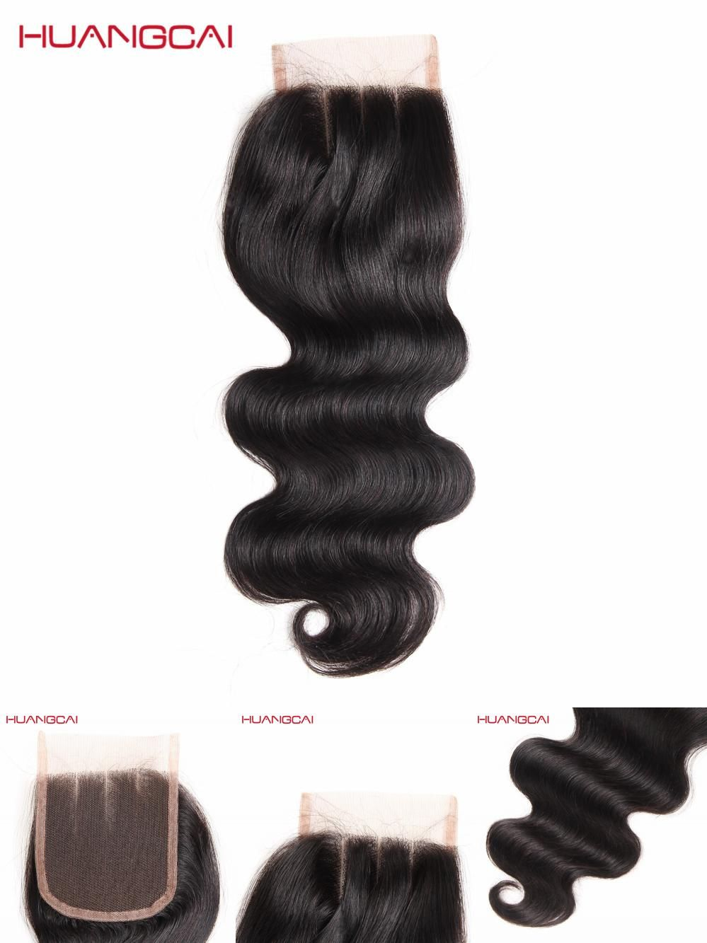 "[Visit to Buy] Huangcai Hair 8""-18"" Body Wave 3 Way Part Lace Closure 4x4 Swiss Lace Non Remy Natural Color 130% Density No Shed Tangle Smell #Advertisement"