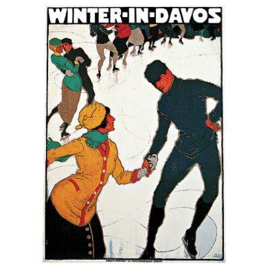 DAVOS SKIING VINTAGE POSTER burkhard mangold switzerland 1917 24X36 sporty