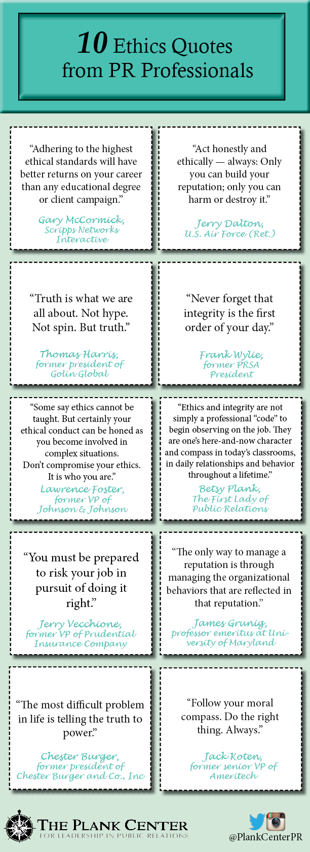 10 Ethics Quotes From Pr Pros The Plank Center For Leadership In Public Relations Ethics Quotes Quotes Ethics