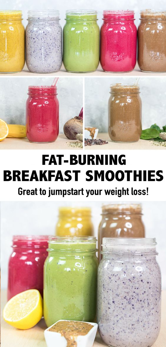 These fat-burning breakfast smoothies will help you jumpstart your weight, increase metabolism, and reduce inflammation. #smoothies #breakfastsmoothies #weightlosssmoothies