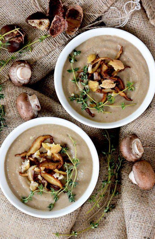 Creamy Mushroom Chestnut Bisque Vegan