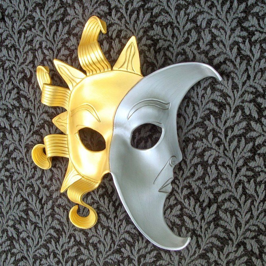 Original Sun And Moon Mask by *merimask | ´)(` .¸MagnificentMasks ...