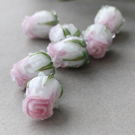 Floral jewelry making White silver rosebud beads Lampwork pair Glass rose beads Flower bud beads white floral lampwork