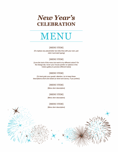New Year Party Menu Template Word Templates Menu Template New Years Eve Menu Menu Template Word