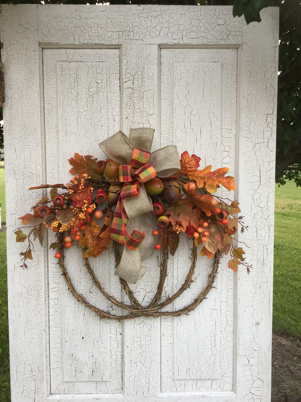 Fall door hanger fall pumpkin wreath pumpkin door hanger