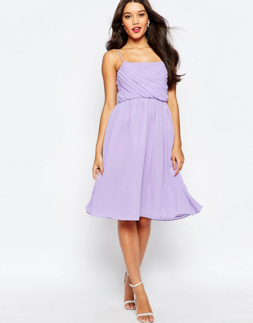 Lilac dress for wedding  ASOS WEDDING Ruched Bust Midi Dress  Purple  Products  Pinterest