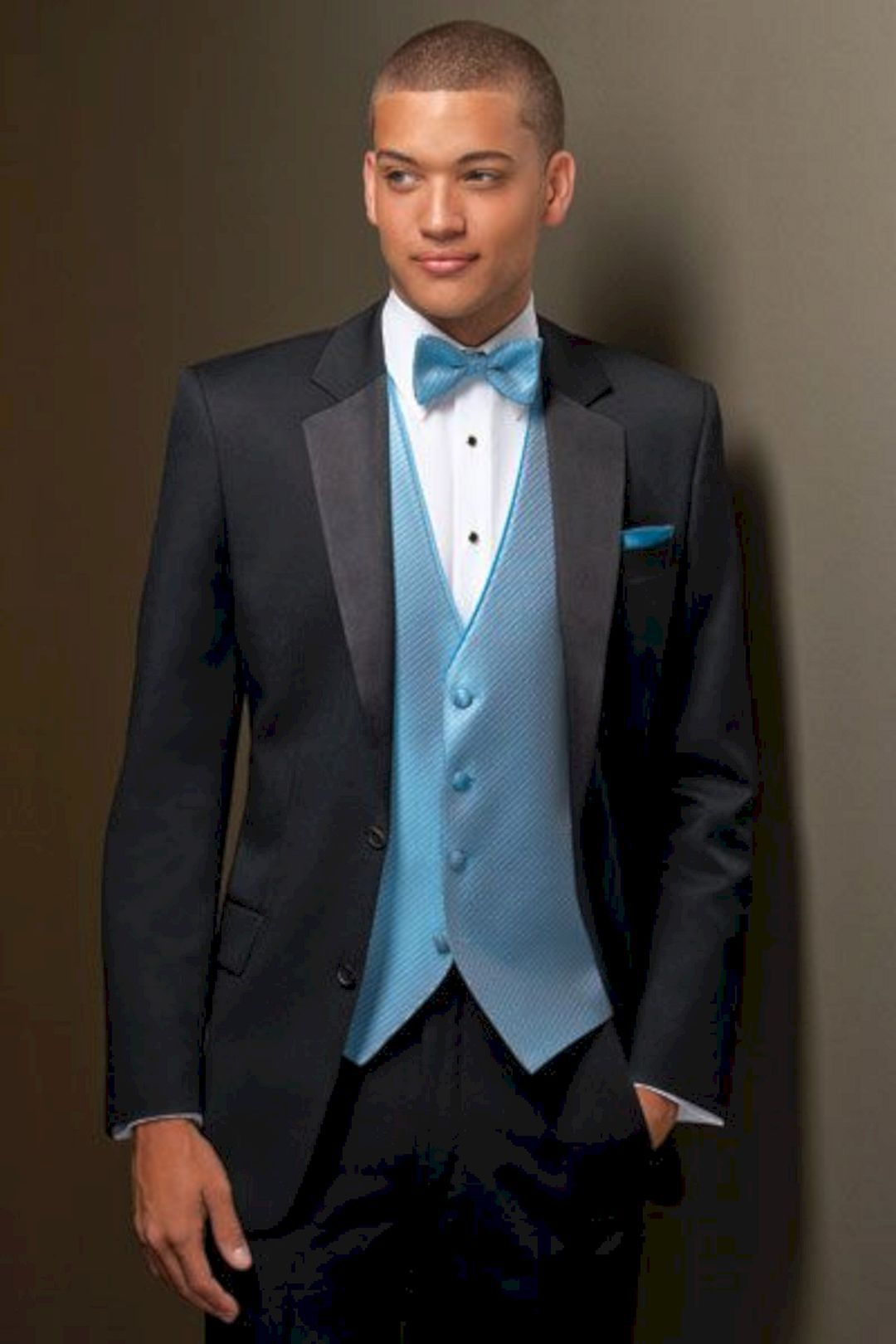 Light Blue Prom Tuxedo with Gray Ties | Grey tie, Prom and Blue tuxedos