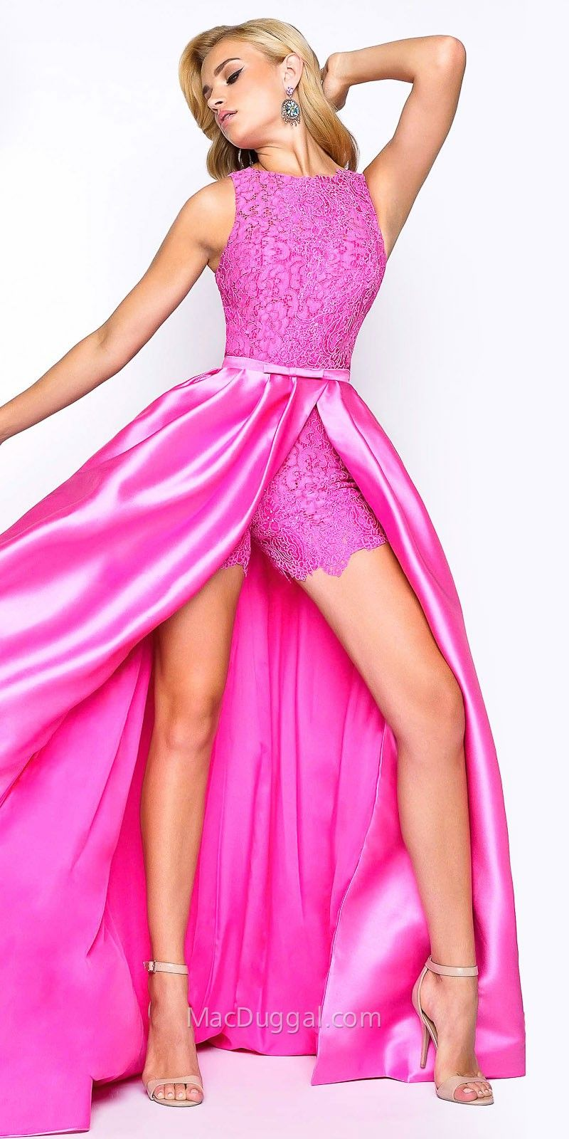 Lace Romper with Satin Overskirt Prom Dress by Mac Duggal | Dresses ...
