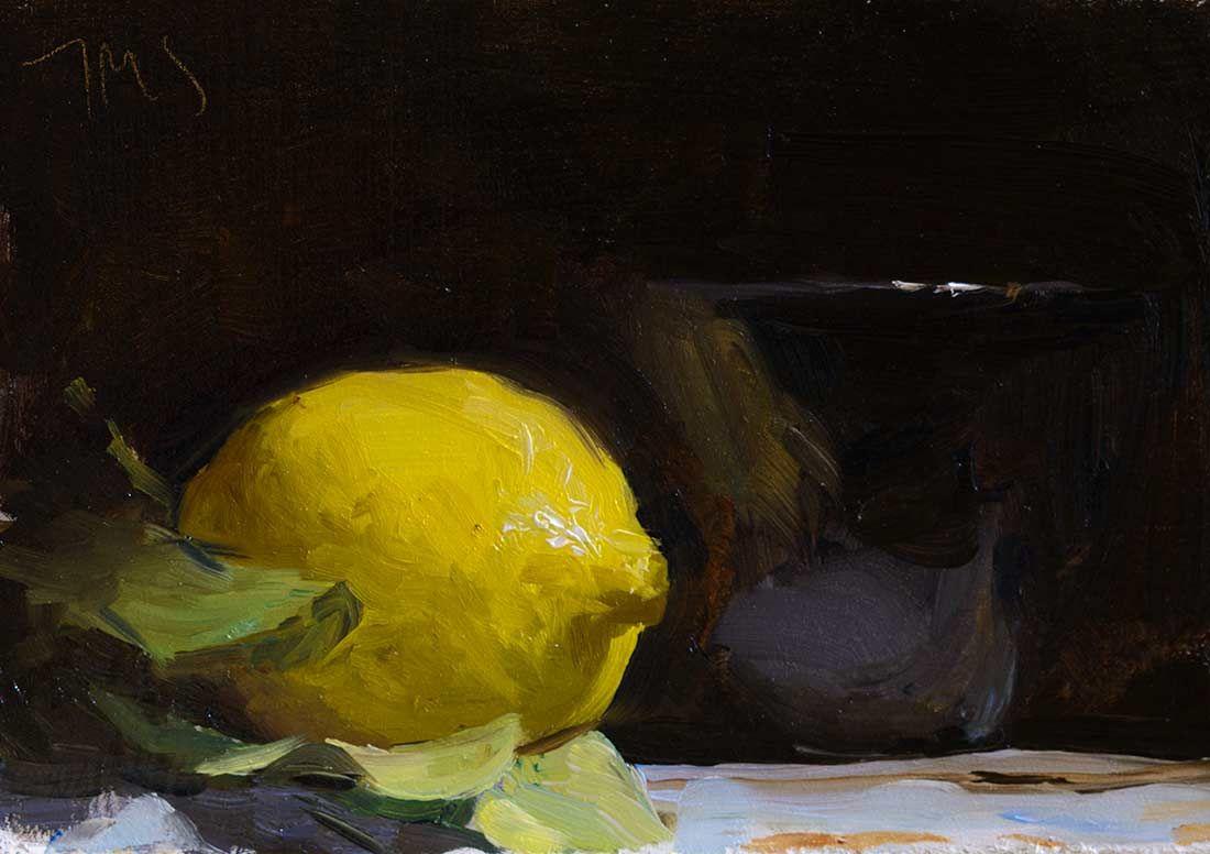 daily painting titled Lemon and black bowl - Julian Merrow-Smith
