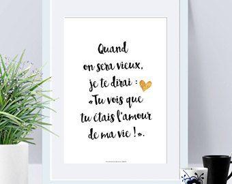 a4 affiche papier quand on sera vieux amour citation poster citation saint valentin. Black Bedroom Furniture Sets. Home Design Ideas