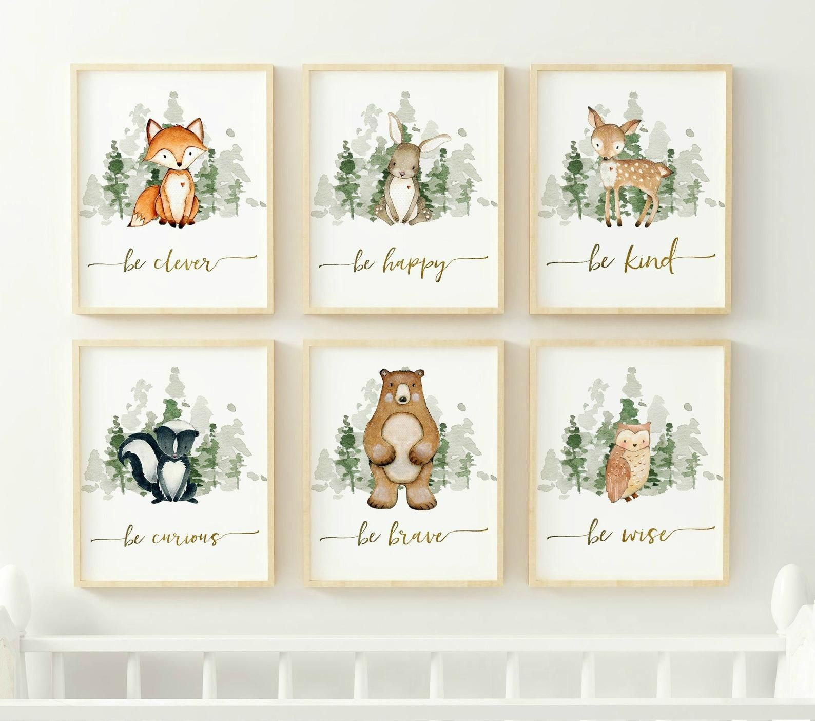 Woodland Nursery Prints, Woodland Nursery Decor, Boy Wall Art, Boy Nursery Prints, Woodland Animal Prints, Printable Wall Art