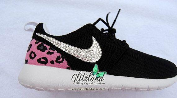 18e8a51bbdac Blinged Black   White Women s Nike Roshe Run w  Cheetah Print Heel And  Authentic Swarovski Crystals