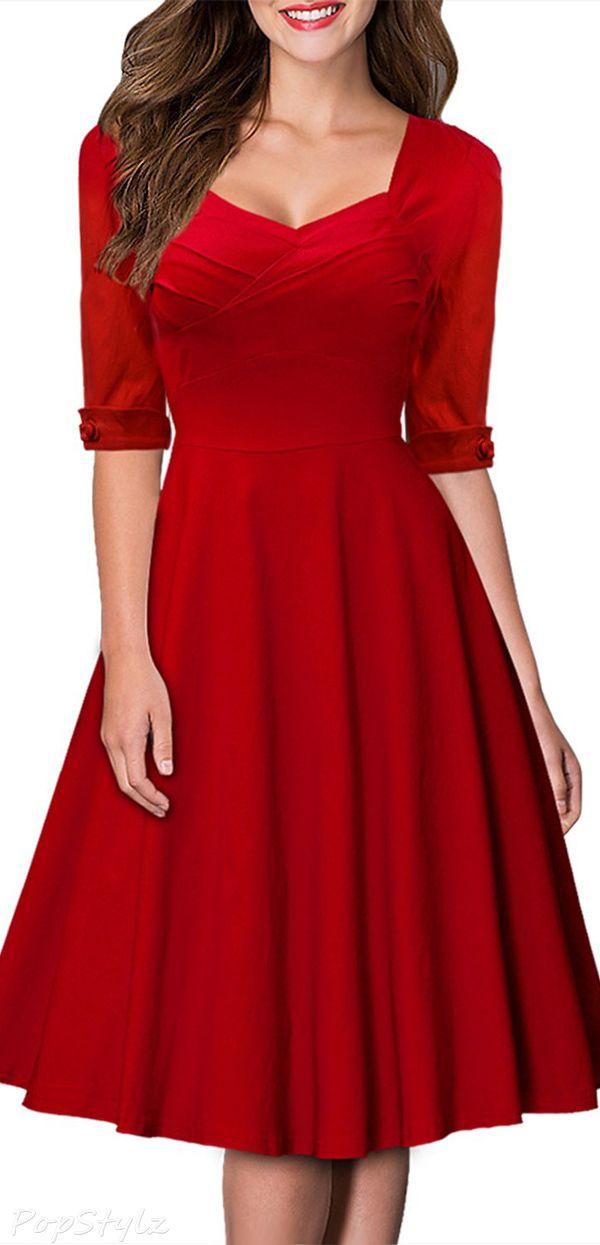 9e823ea84ed6 MIUSOL Retro Hepburn Style Half Sleeve Swing Dress | Elbiseler ...