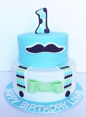 Little Man Birthday cake with moustache Blue green and white cake