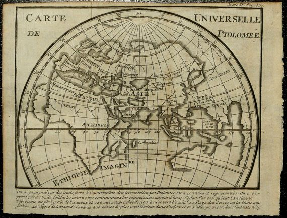 1756 Antique Ptolemy World Map 257 Years Old By Antiqueprintsonly