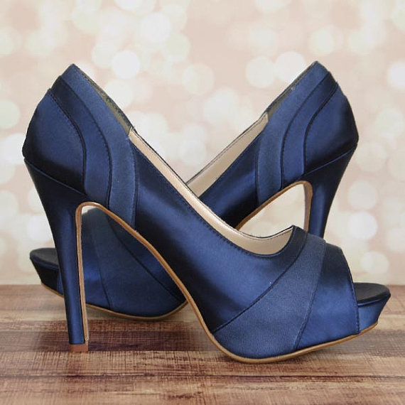 Custom Wedding Shoes -- Navy Blue Platform Peep Toe Wedding Shoes with  Satin and Chiffon Panels c00c301b1a