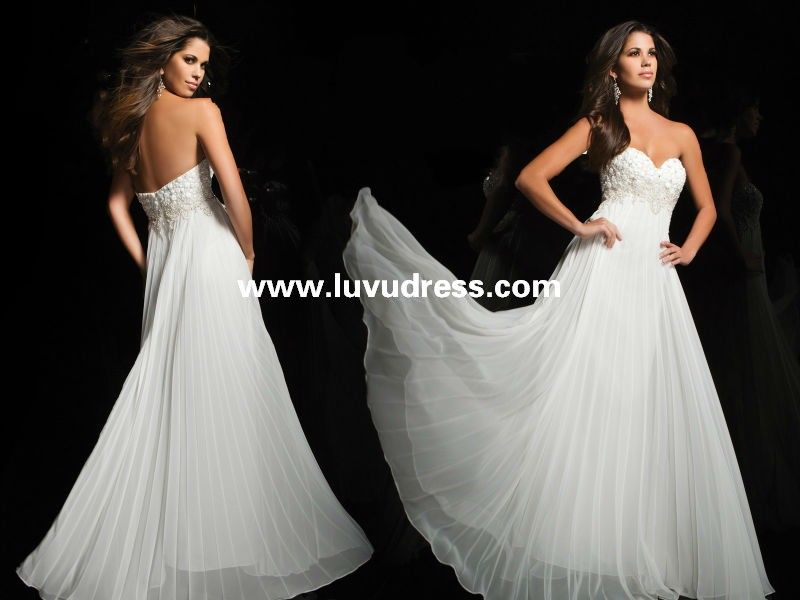 A-line chiffon beaded bodice white maternity 2014 Prom Dress