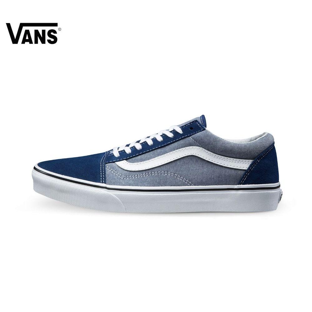 D'origine Vans Vans Classic Bleu Hommes de Planche À Roulettes  Chaussures Vieux Skool Chaussures de Sport Sneakers