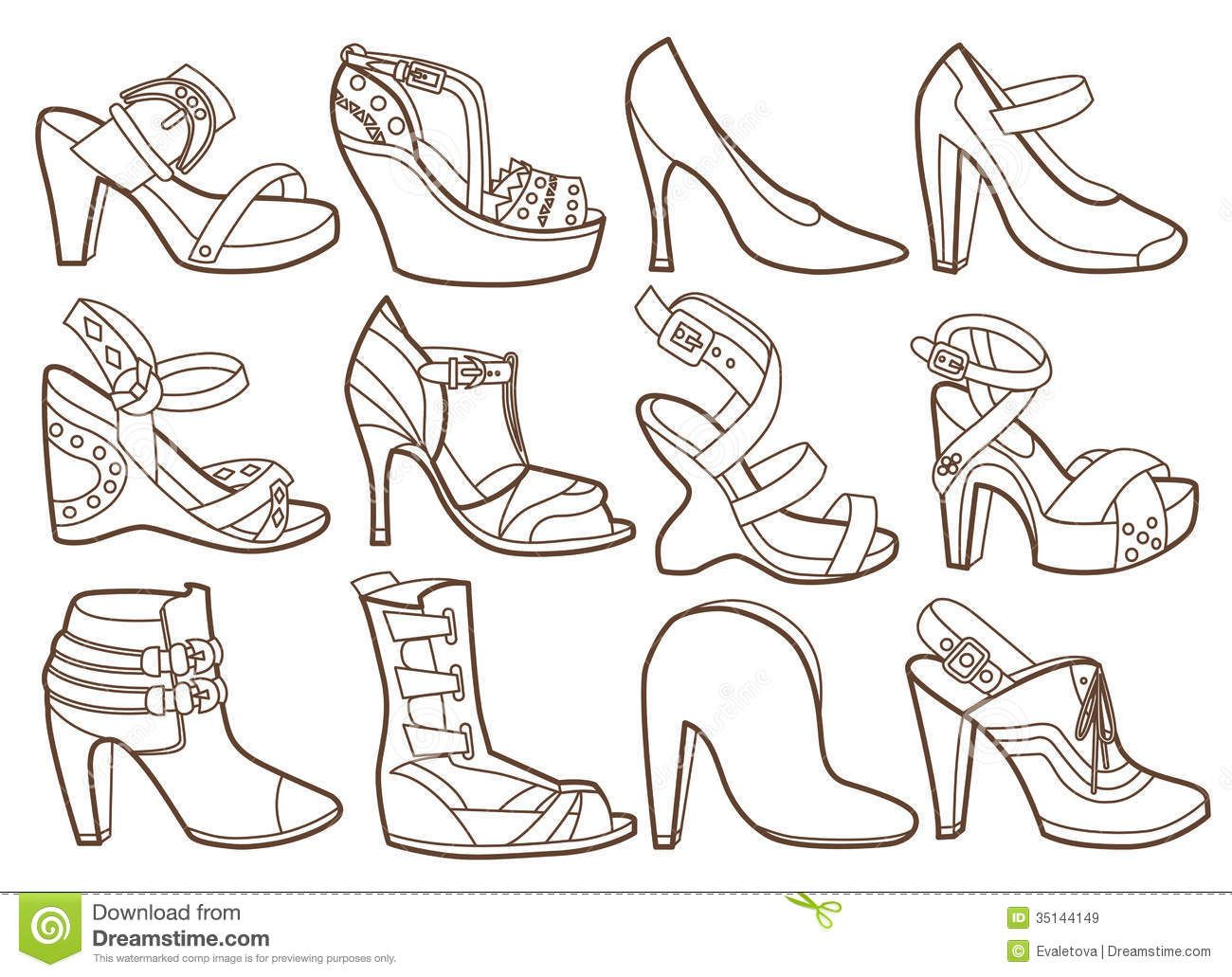 Coloring pages shoes - Fashion Shoes Collection Coloring Book