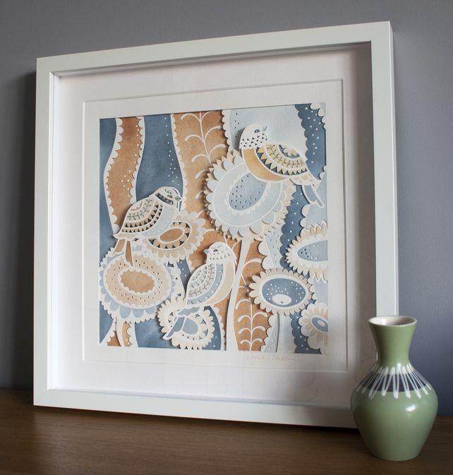 Wall Decoration By Paper Cutting : Gift wall art unframed paper cut watercolour quot sweet birds