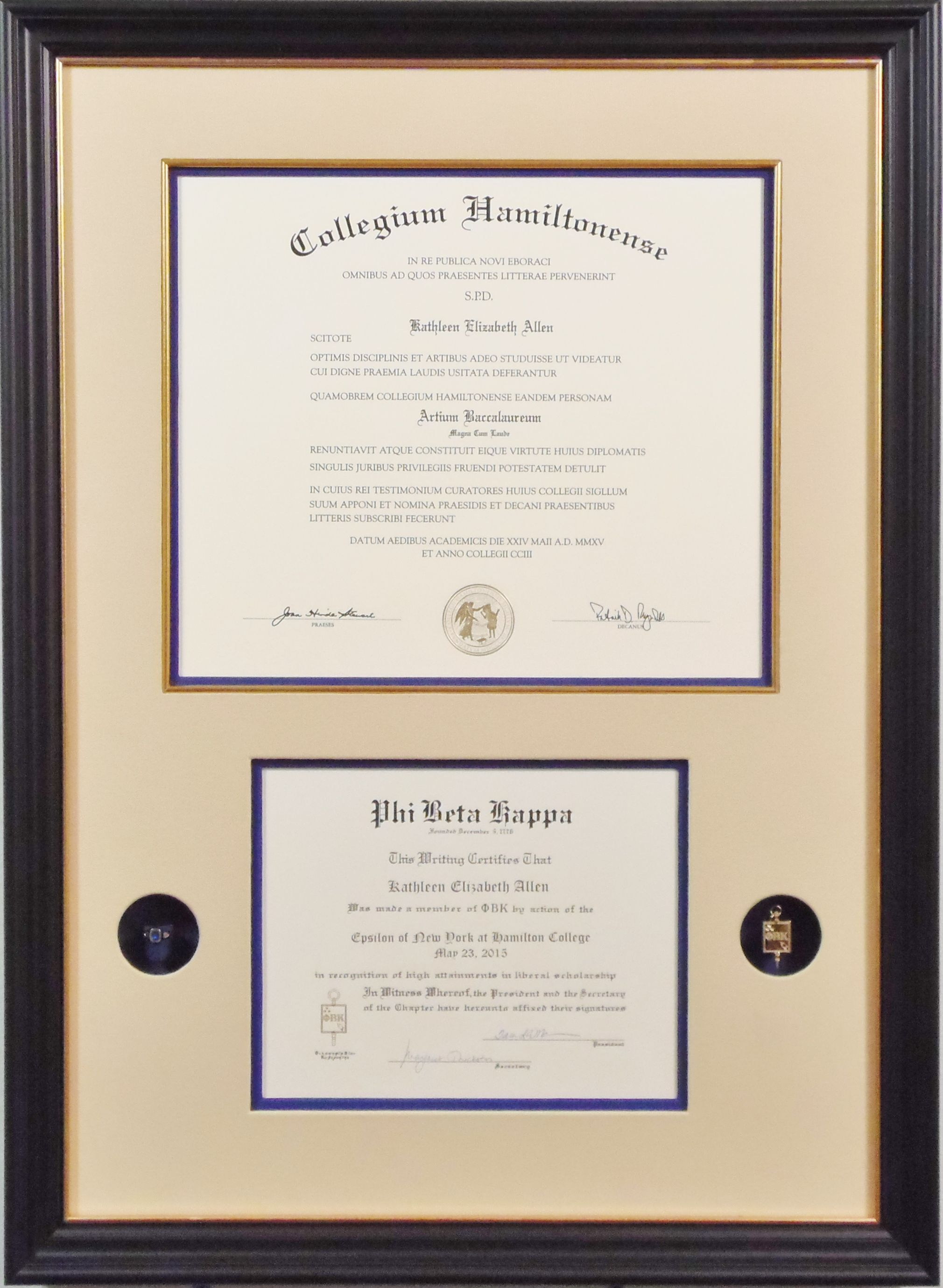 Custom Framed Diploma And Certificate Of Honors With Accompanying