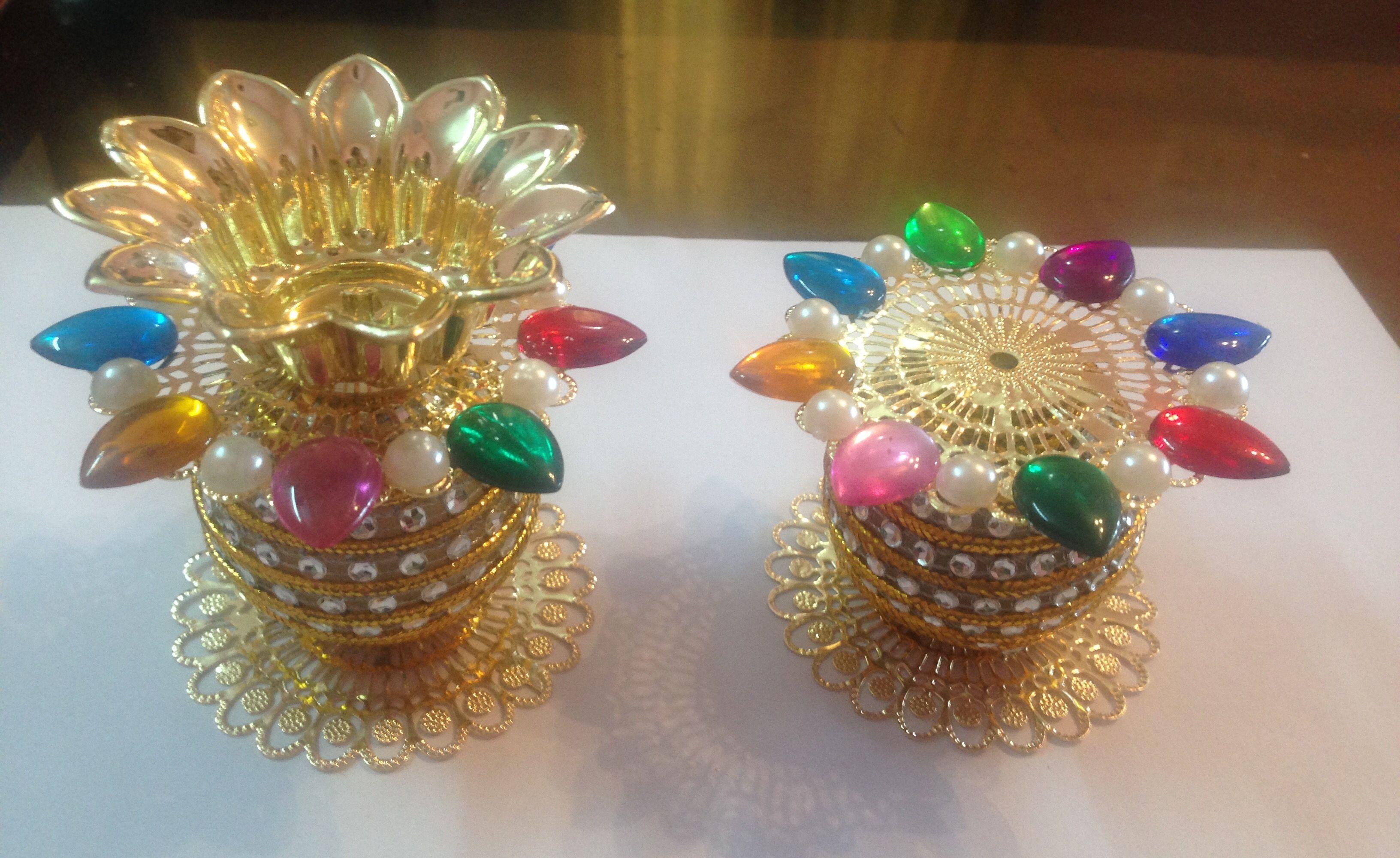 Tlight candle holder Diwali craft, Diya decoration ideas