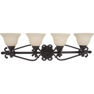 """Photo of Maxim 12214FIOI Oil Rubbed Bronze / Frosted Ivory Glass Manor 37 """"Wide Bath Light"""