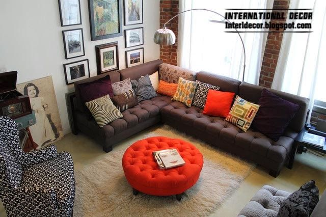red ottoman and brown corner sofa for modern living room | Interior ...
