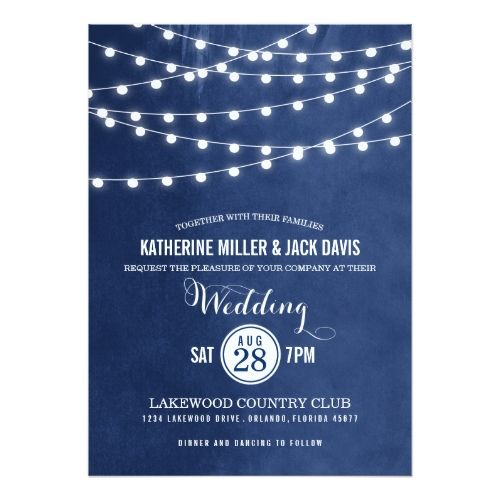 Navy Blue String Lights Wedding Invitation | Zazzle.com