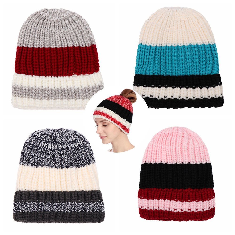 9515dbb6e586 Outdoor Warm Winter Long Hair Knit Hat Ponytail Hats Beanie Cap Messy Bun # fashion #clothing #shoes #accessories #womensaccessories #hats