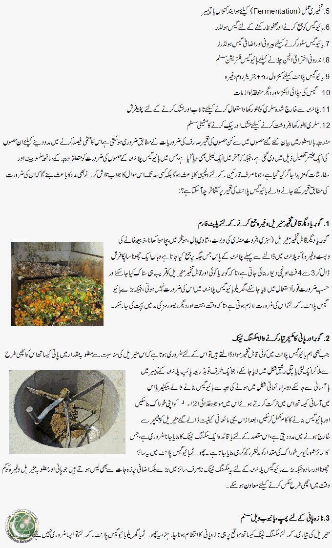 Review of necessary parts of Biogas plant (Urdu