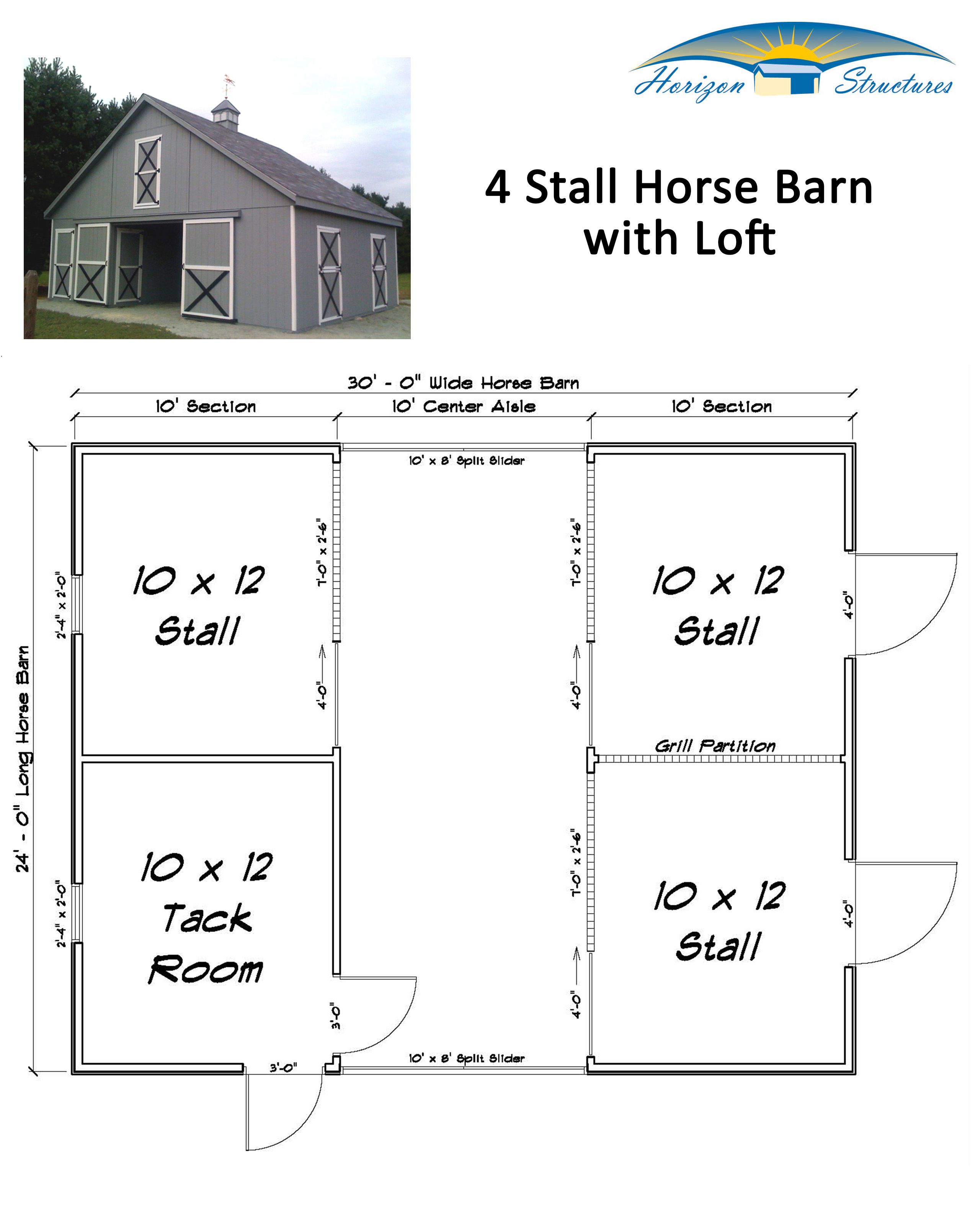 3 stall horse barn with tack feed room and loft this for Barn layouts
