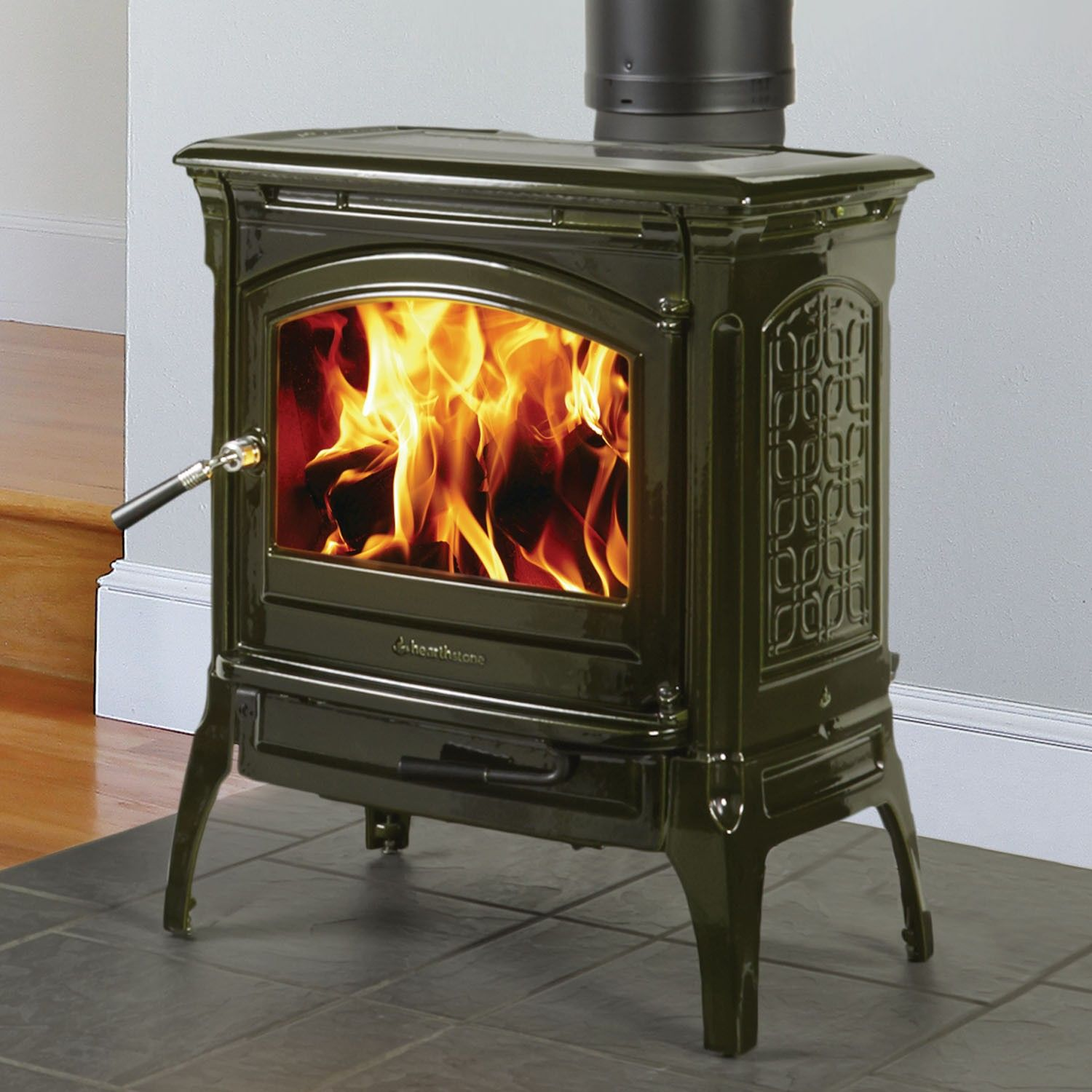 craftsbury 8391 wood stove with with basil majolica enamel finish