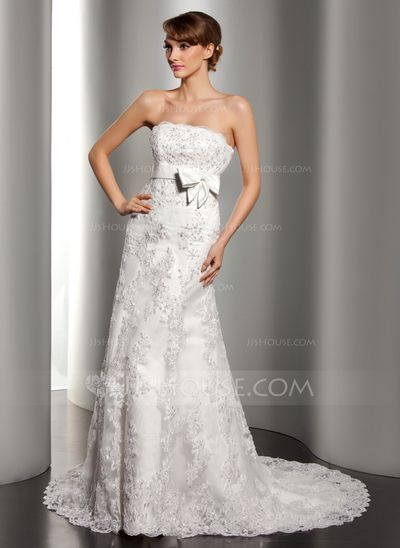 Wedding Dresses - $274.99 - A-Line/Princess Strapless Court Train Satin Lace Wedding Dress With Beadwork Sequins (002012170) http://jjshouse.com/A-Line-Princess-Strapless-Court-Train-Satin-Lace-Wedding-Dress-With-Beadwork-Sequins-002012170-g12170?ver=1
