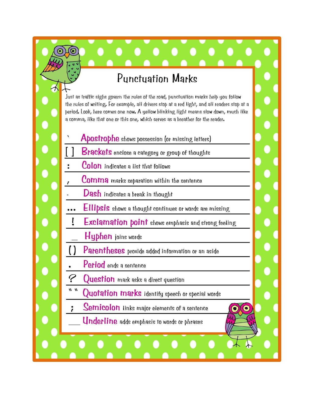 Free Punctuation Marks Poster  Preschool Printables By Gwyn