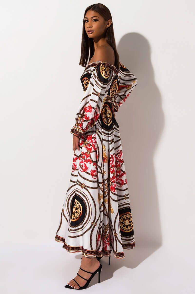 Akira Label Long Sleeve Baroque Print Flowy Maxi Dress In Ivory Multi Kleider Frauen Outfits [ 1209 x 800 Pixel ]