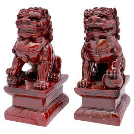 Indochine Two Piece Classic Foo Dog Statue Set Product 2 Piece Statue Set Construction Material Compos Foo Dog Statue Oriental Furniture Dog Statue